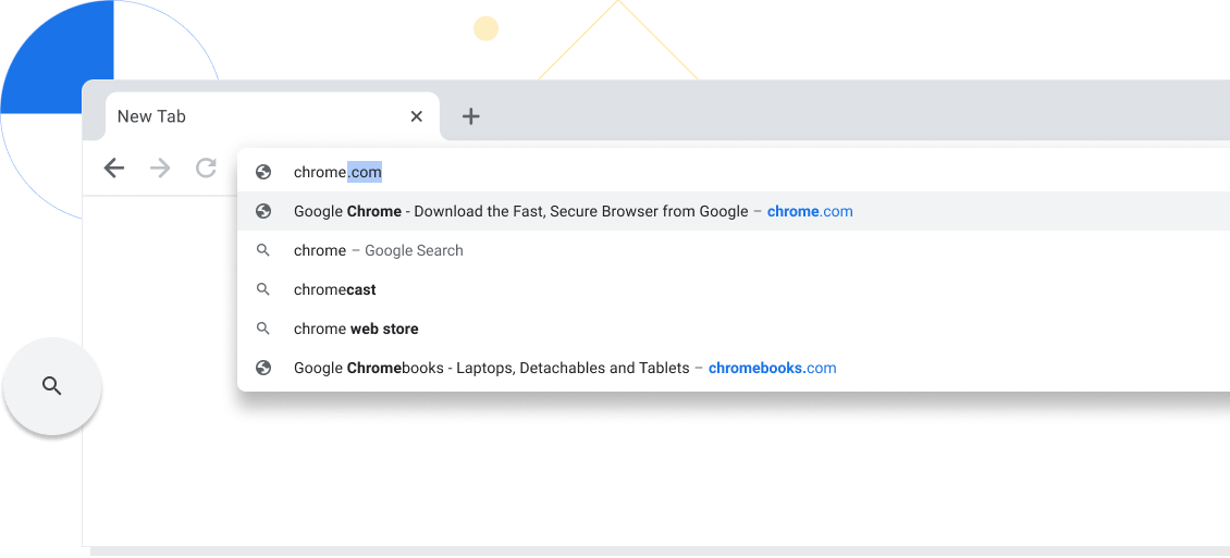 Zoomed-in view of a new tab in a Chrome browser window with chrome.com entered into the address bar.